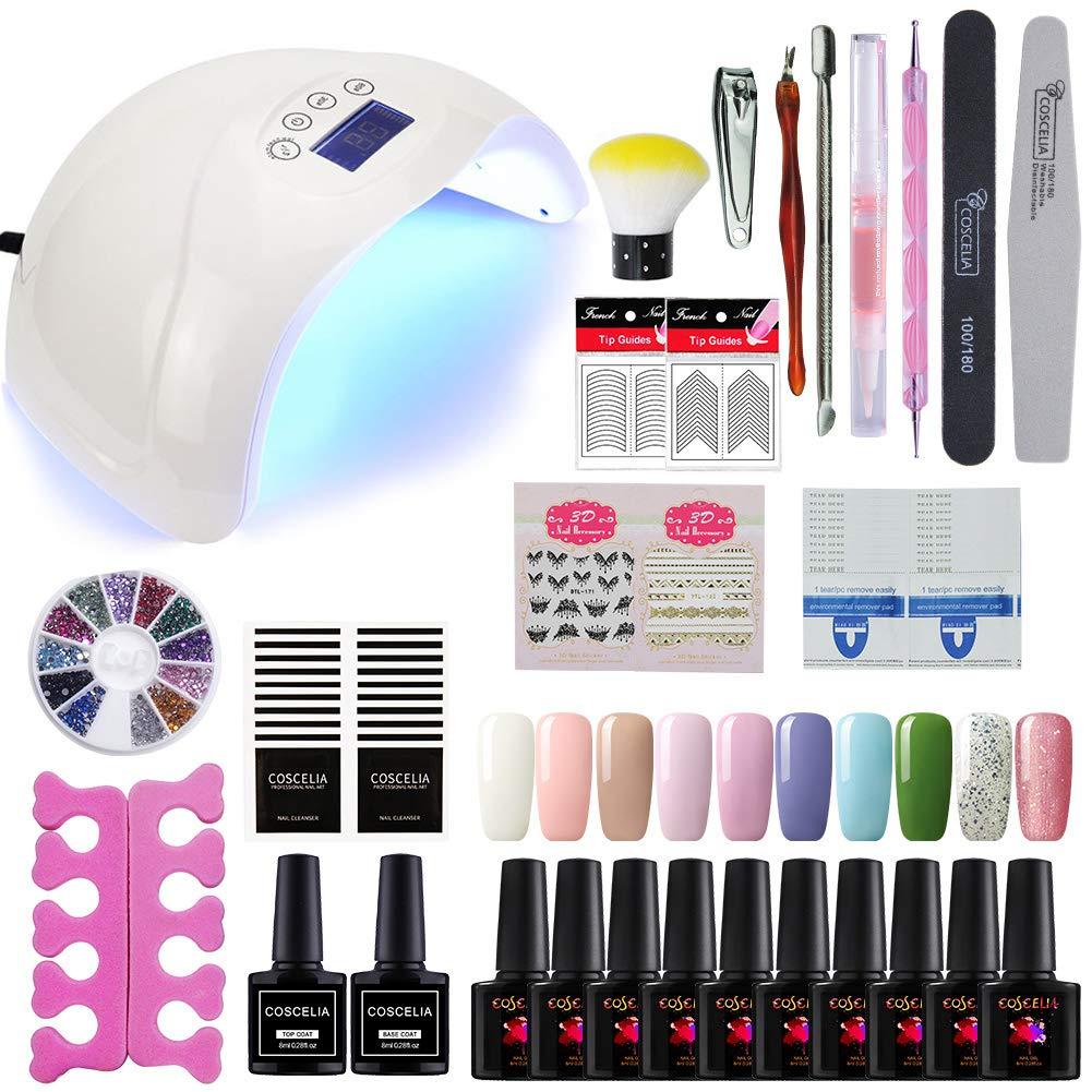 Amazon.com: Gel Nail Polish Kit with UV light - Soak Off Gel Base ...