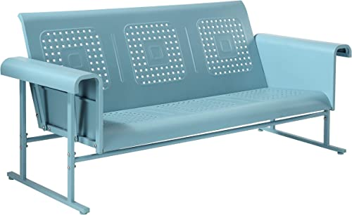 Crosley Furniture CO1028-BL Veranda Retro Outdoor Metal Sofa Glider, Caribbean Blue