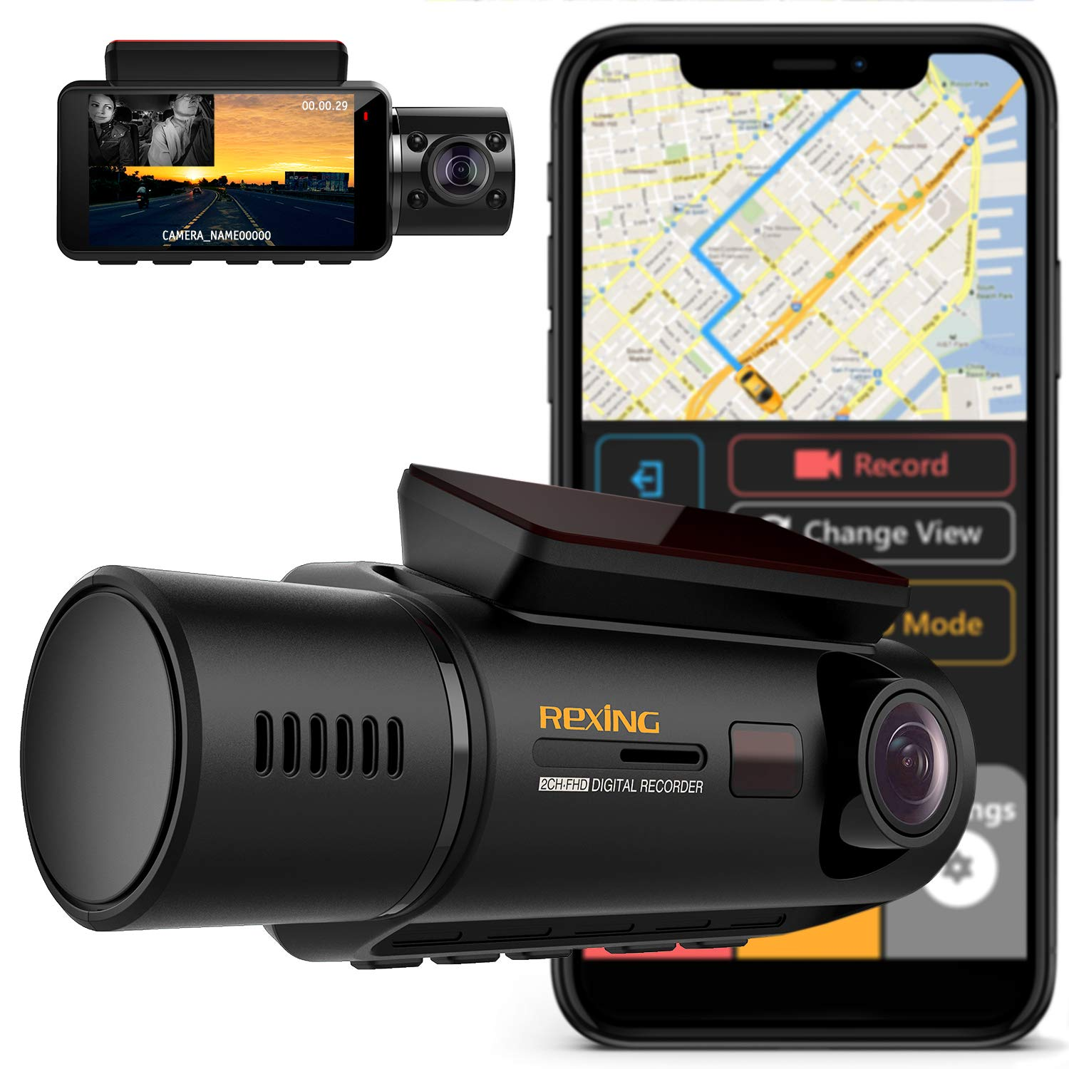 REXING V3 Dual Camera Front and Inside Cabin Infrared Night Vision Full HD 1080p WiFi Car Taxi Dash Cam with Built-in GPS, Supercapacitor, 2.7'' LCD Screen, Parking Monitor, Mobile App by REXING