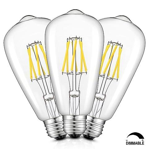crlight led edison bulb 6w dimmable 5000k daylight white 700lm 70w equivalent e26 medium base