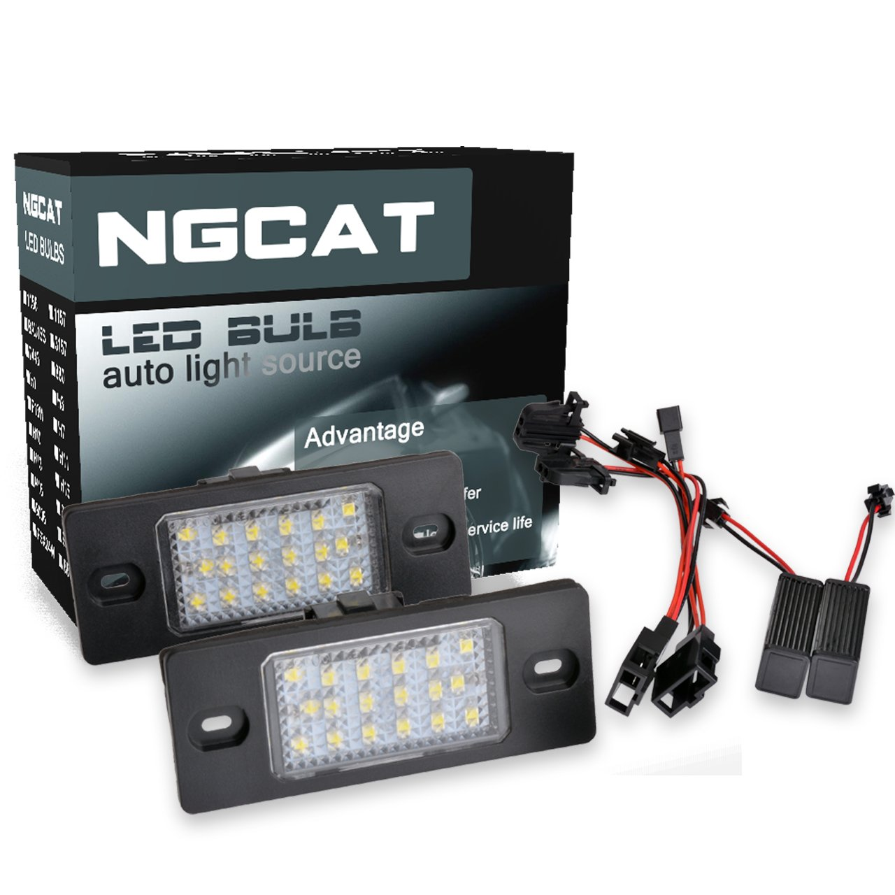 NGCAT 2 pieces 18 SMD White 6000K LED Bulb License Number Plate Light Lamps CanBus Error Free