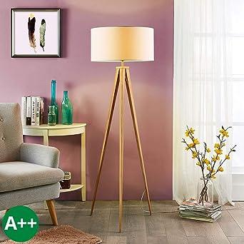 Lampenwelt Dreibein Stehlampe Benik Modern In Weiss Aus Textil