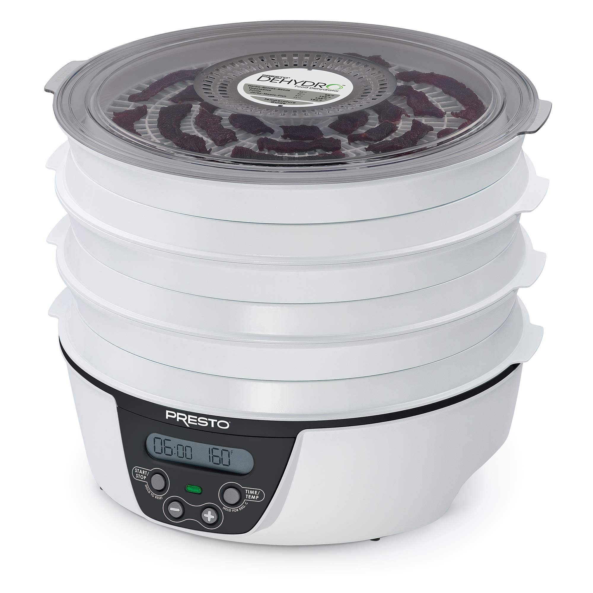 Presto 06303 Dehydro Electric Food Dehydrator, 6 trays, White and Black