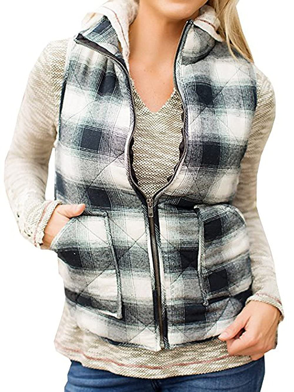 LuShmily Women's Sleeveless Zip-up Plaid Quilted Vest Coats Jacket LZYVST001
