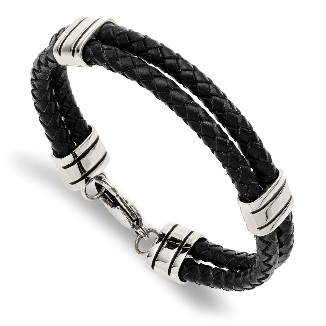 Stainless Steel Black Leather 9 Inch Bracelet Cord Leatrubber Fashion Jewelry For Women Gift Set ICE CARATS IceCarats 1124251193472821592