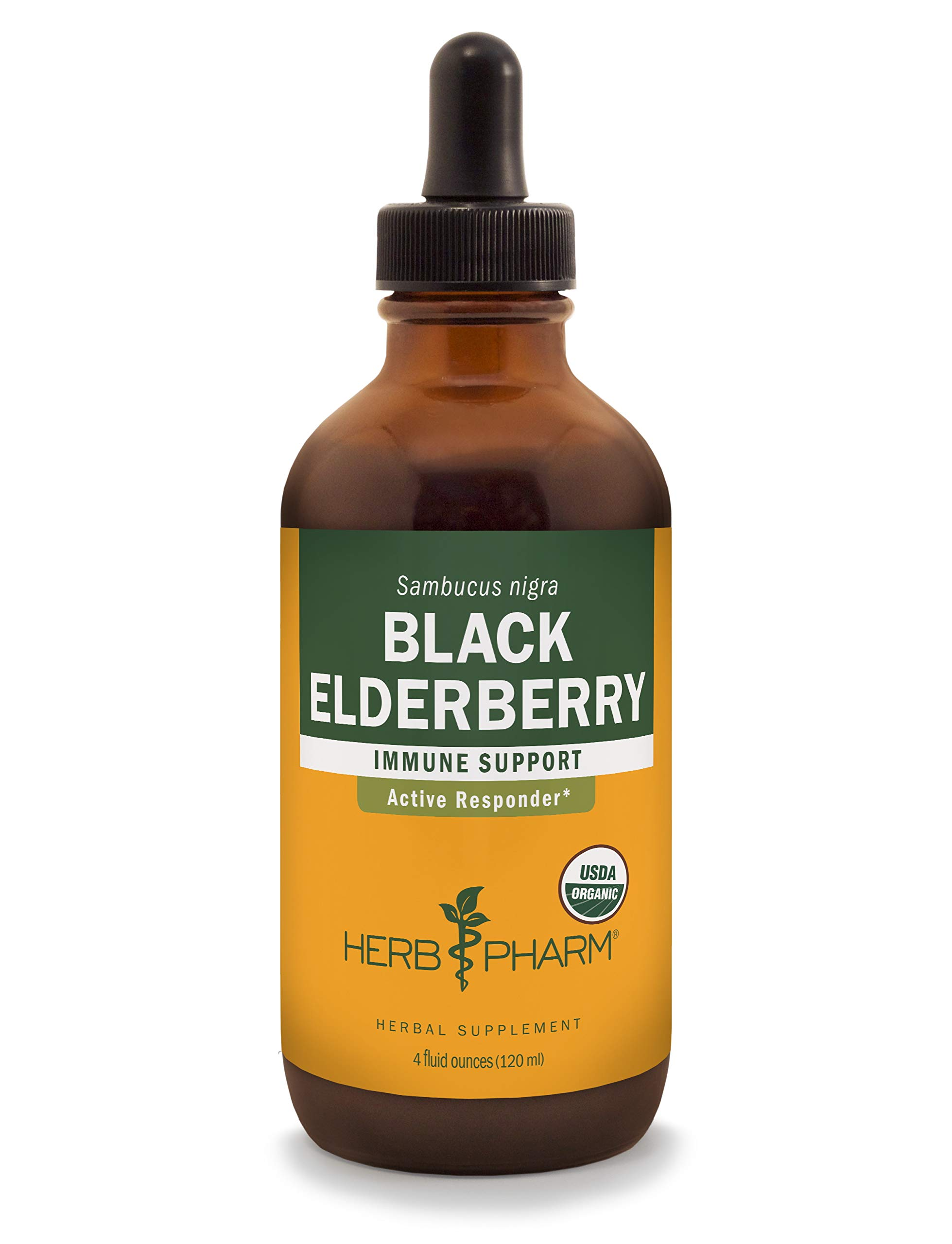 Herb Pharm Certified Organic Black Elderberry Liquid Extract for Immune System Support - 4 Ounce