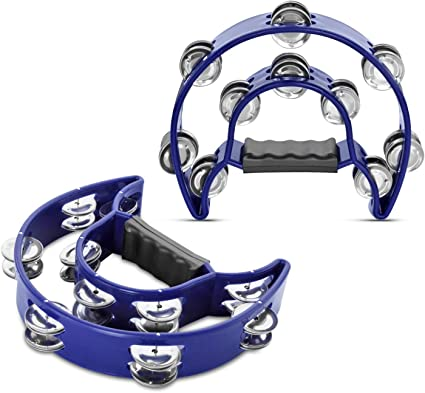 Hand Tambourine Double Row Metal Jingles Hand Held Percussion Instrument for Gift KTV Party Kids Toy with Ergonomic Handle Grip Half Moon Tambourine Blue