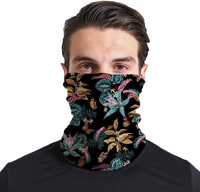 Triv Floral Seamless Bandana Neck Gaiter Cloth Face Mask Washable Reusable Balaclava Face Cover (Floral Dark) at Amazon Men's Clothing store