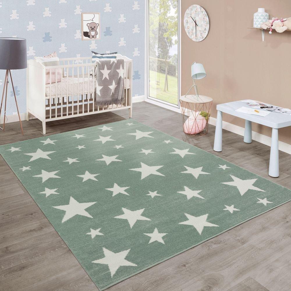 Paco Home Moderner Kurzflor Kinderteppich Sternendesign Sternendesign Sternendesign Kinderzimmer Pastell Grün Weiß, Grösse 200x280 cm 68b03c