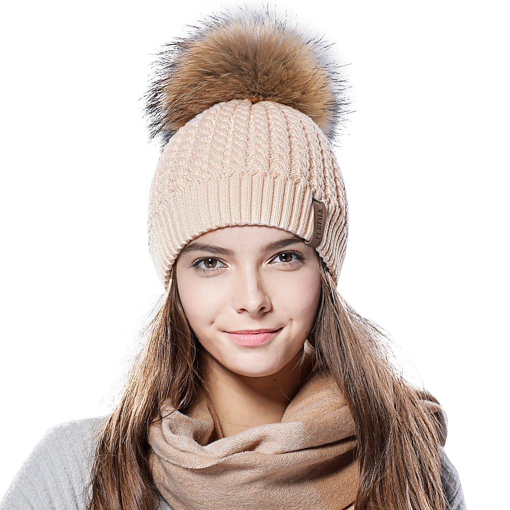 Knit Beanie Hats for Women  FURTALK brand New Arrival Stretchy acrylic hat.  Fit any size 4301622496f7