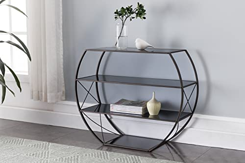 Kings Brand Furniture – Entryway Console Table with Storage Shelves, Pewter Metal, Black Glass