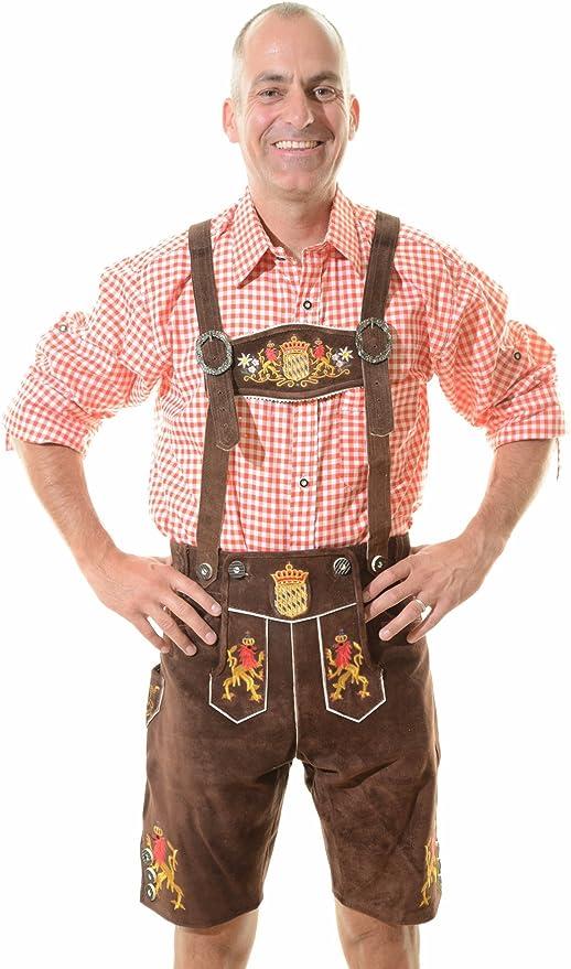 Mens Bavarian Trachten Lederhosen German Stonewashed Leather Long Length Shorts Pants Brown