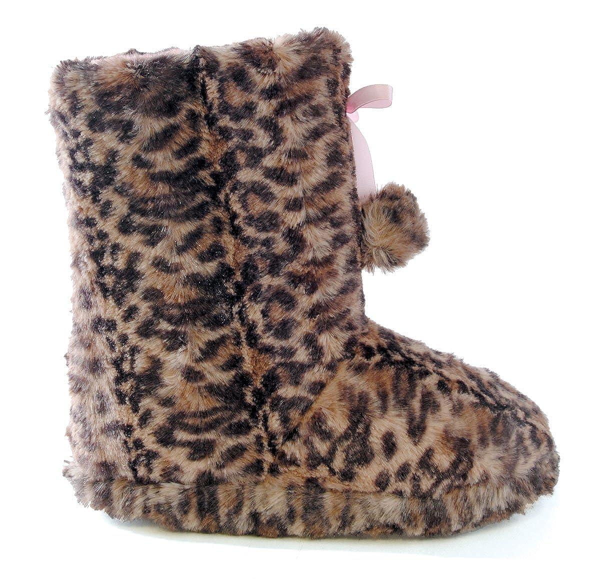 SlumberzzZ Girls Faux Fur /& Bow Ribbon Hi Top Slipper Boot FT0587