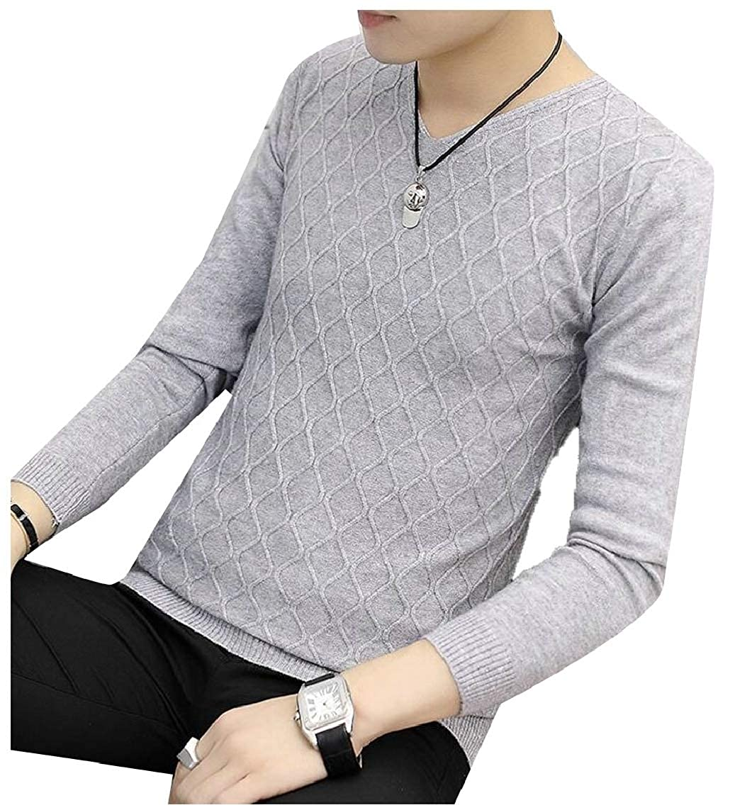 Yayu Mens V Neck Long Sleeve Solid Color Slim Fit Pullover Knit Sweater