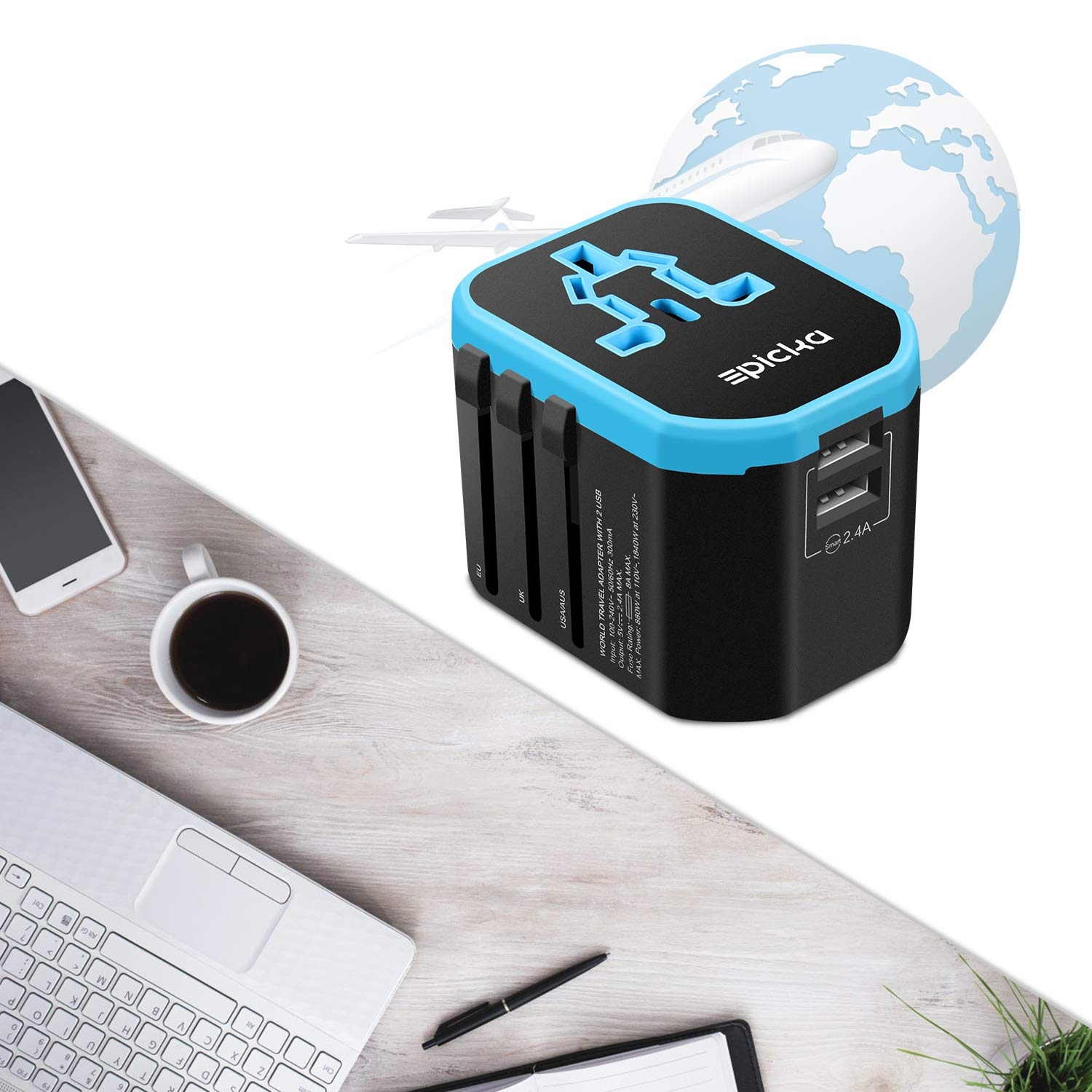 Travel Adapter Blue New EPICKA All in One Worldwide Universal Power Adapter AC Plug Adapter with Dual USB Charging Ports for USA EU UK AUS Cell Phone Tablet Laptop