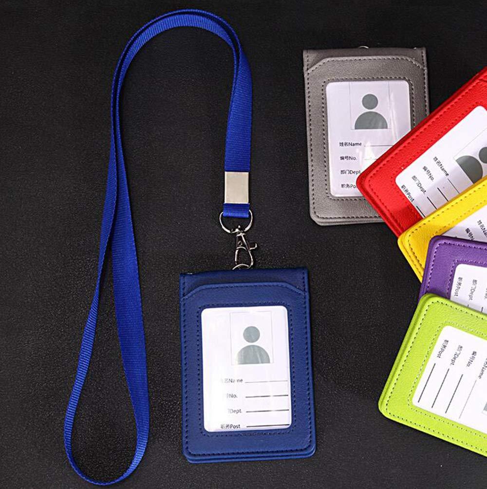 Rosso 1PCS Heavy Duty PU verticale nome carta ID studente tessera Badge Holder Pass tasca rigida tasche con cordino stringa e 5 slot per schede
