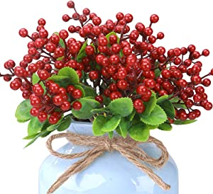 Felice Arts Pack of 6 Rich Red Artificial Berry Stems Holly Christmas Berries for Festival Holiday and Home Decor