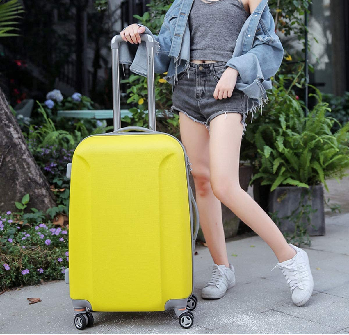 Color : Pink Xinqing Universal Suitcase Trolley Case Suitcase Wheel Female 24 Traction Box Student Suitcase Password Box Color Green Yellow Size 61 43 29 cm Best Choice Product