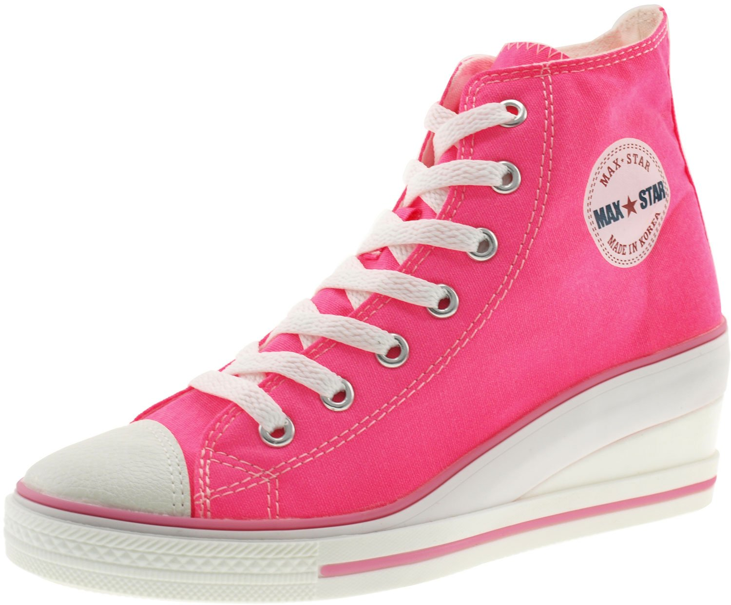 Maxstar Women's 7H Zipper Low Wedge Heel Sneakers B00XOZW8XA 6 B(M) US|Neon Pink