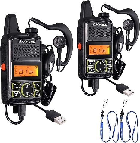 Earpieces USB Cables 2PCS 400-470MHz UHF Mini 16CH Walkie Talkie 2-Way Radio