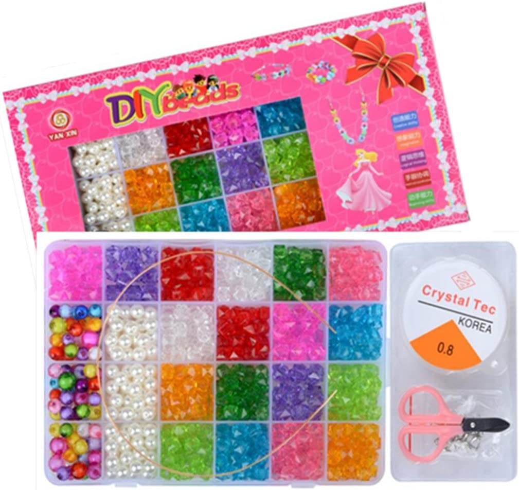 Vytung Beads Set for Jewelry Making Kids Adults Children Craft DIY Necklace Bracelets Letter Alphabet Colorful Acrylic Crafting Beads Kit Box with Accessories color#1