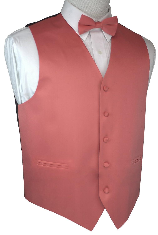 Brand Q Men's Formal Tuxedo Vest & Bow-Tie Set in Coral