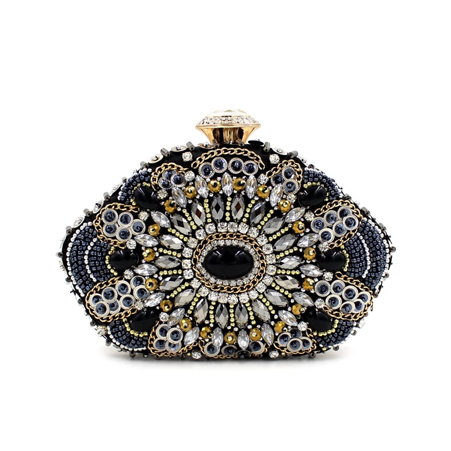 Flada Women Beaded Bag Black Fashion Clutch Bag Leisure Handbag
