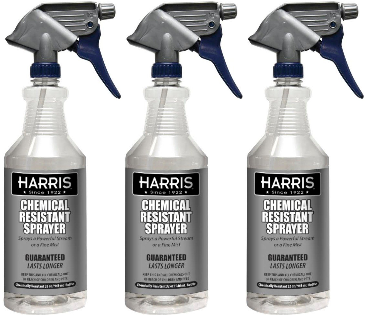 Harris 100% Chemically Resistant Professional Spray Bottles, 32oz (3-Pack)