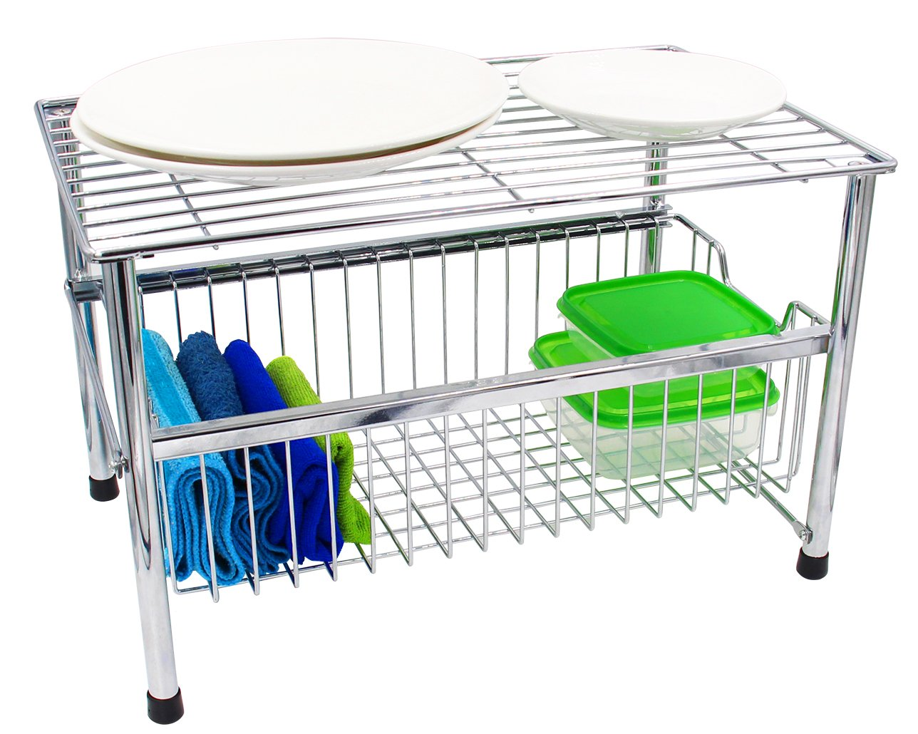 Kühlschrank Organizer Stapelbar : Esylife stapelbarer unterspülen organizer küchen korb organizer
