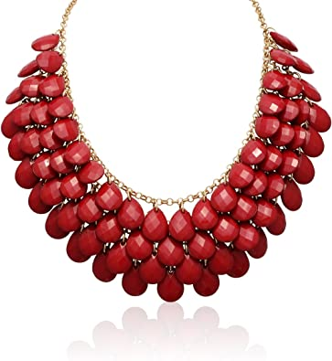 Statement Chunky Long Large Gold Red Bead Beaded Faux Pearl Chain Heavy Necklace