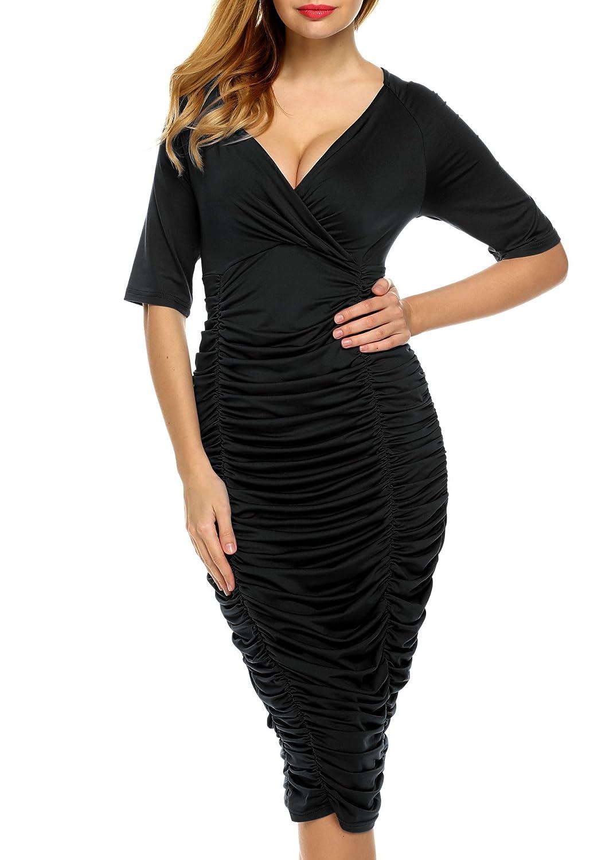 Zeagoo Damen Sexy Bodycon Partykleid Cocktailkleid Baumwolle Kleid ...