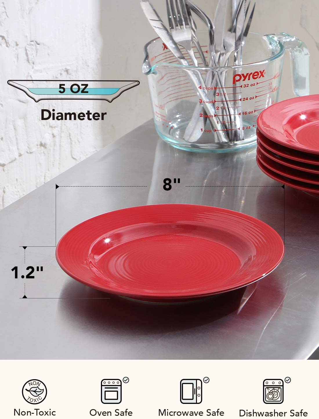 Le Tauci Salad Plates Sets Ceramic Plates For Dessert Appetizers Snacks Pasta Set Of 6 8 Inch Ture Red Salad Plates