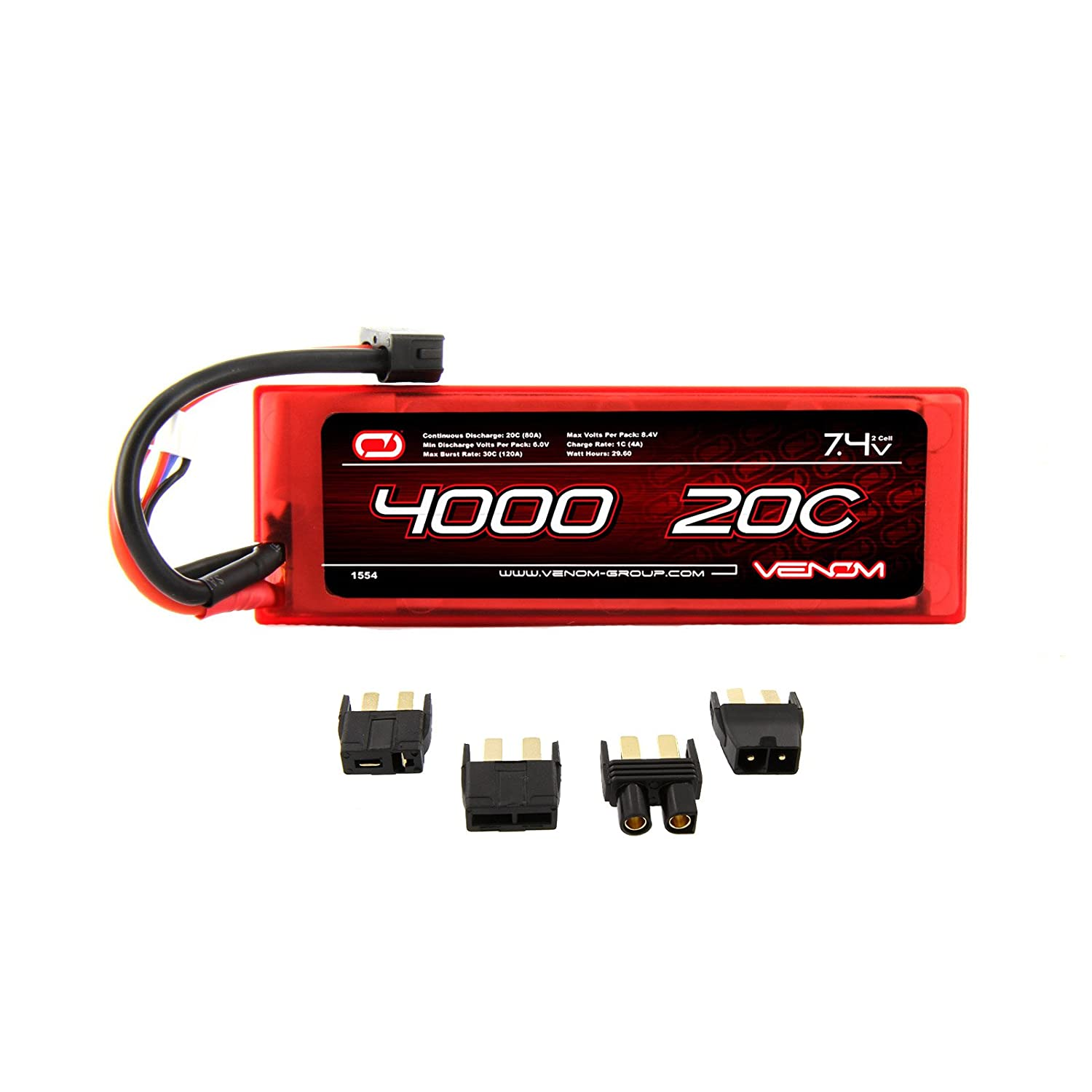 Amazon Venom 20C 2S 4000mAh 7 4V Hard Case LiPo Battery with Universal Plug EC3 Deans Traxxas Tamiya Toys & Games