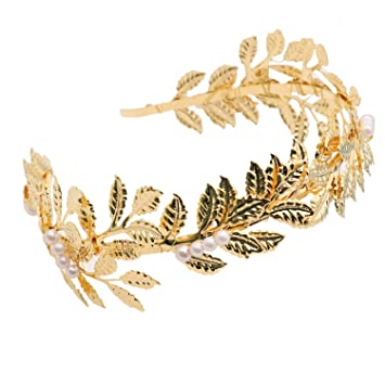 Amazon.com  HUELE Greek Roman Goddess Accessories Gold Leaf Crown ... 7a89351a2e4