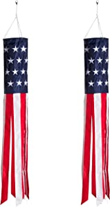 Homarden 40 Inch American Flag Windsock (Set of 2) - Outdoor Hanging 4th of July Decor - Premium Materials with Embroidered Stars - Fade Resistant Patriotic Wind Socks Decorations