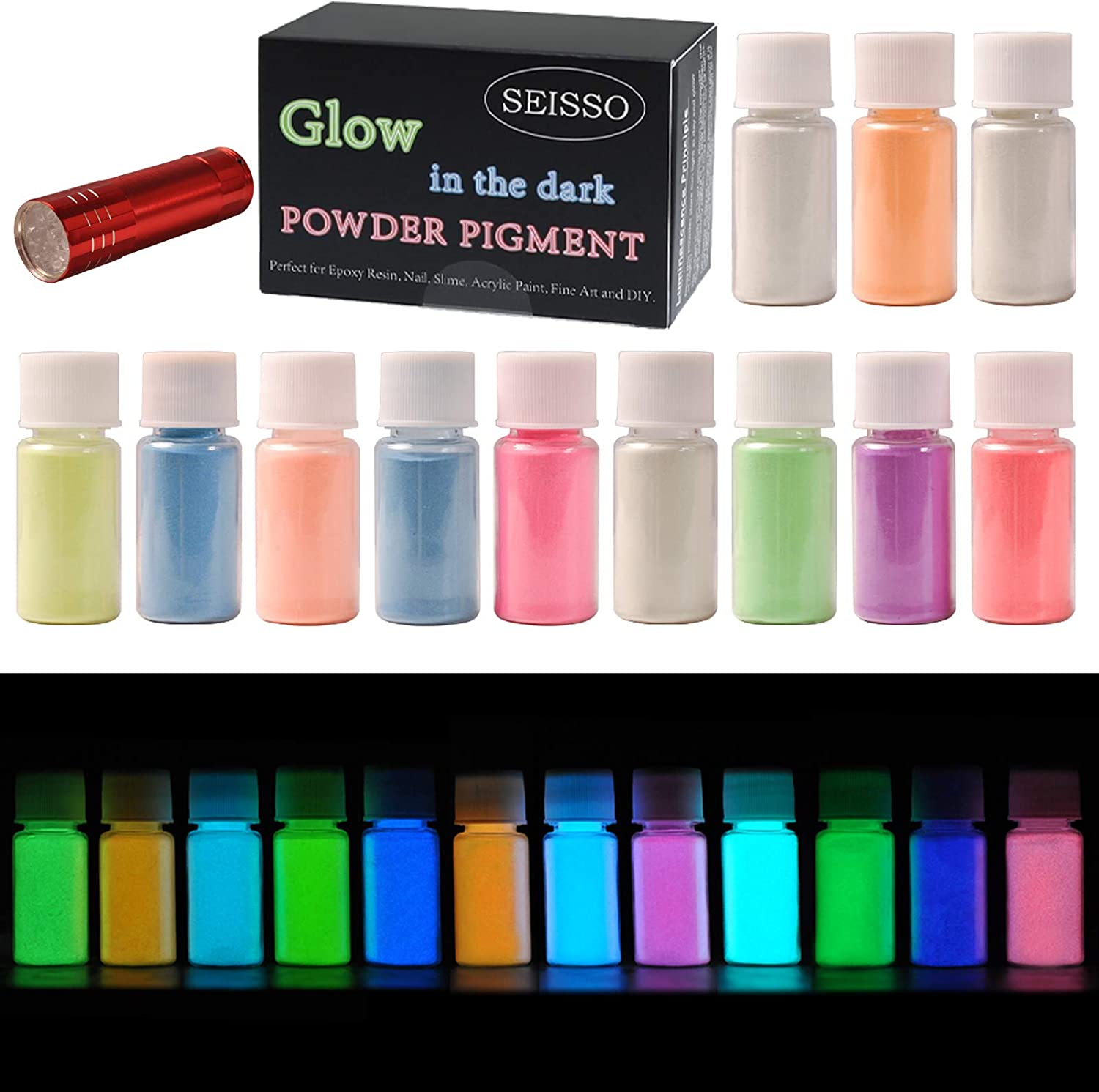 Amazon Com 12 Color Glow In The Dark Pigment Powder With Uv Lamp Luminous Powder Non Toxic Skin Safe Long Lasting For Epoxy Resin Paints Acrylic Paint Resin Crafts Music Festivals Theme Party Decoration Pigment Home Improvement