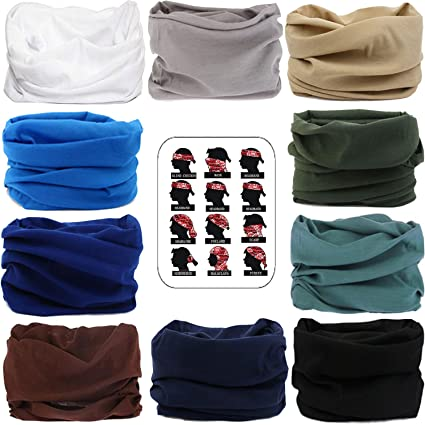 185b6bcf32 Amazon.com   MAKLULU 10pc Seamless Bandanna Tube Headwear Scarf Wrap ...