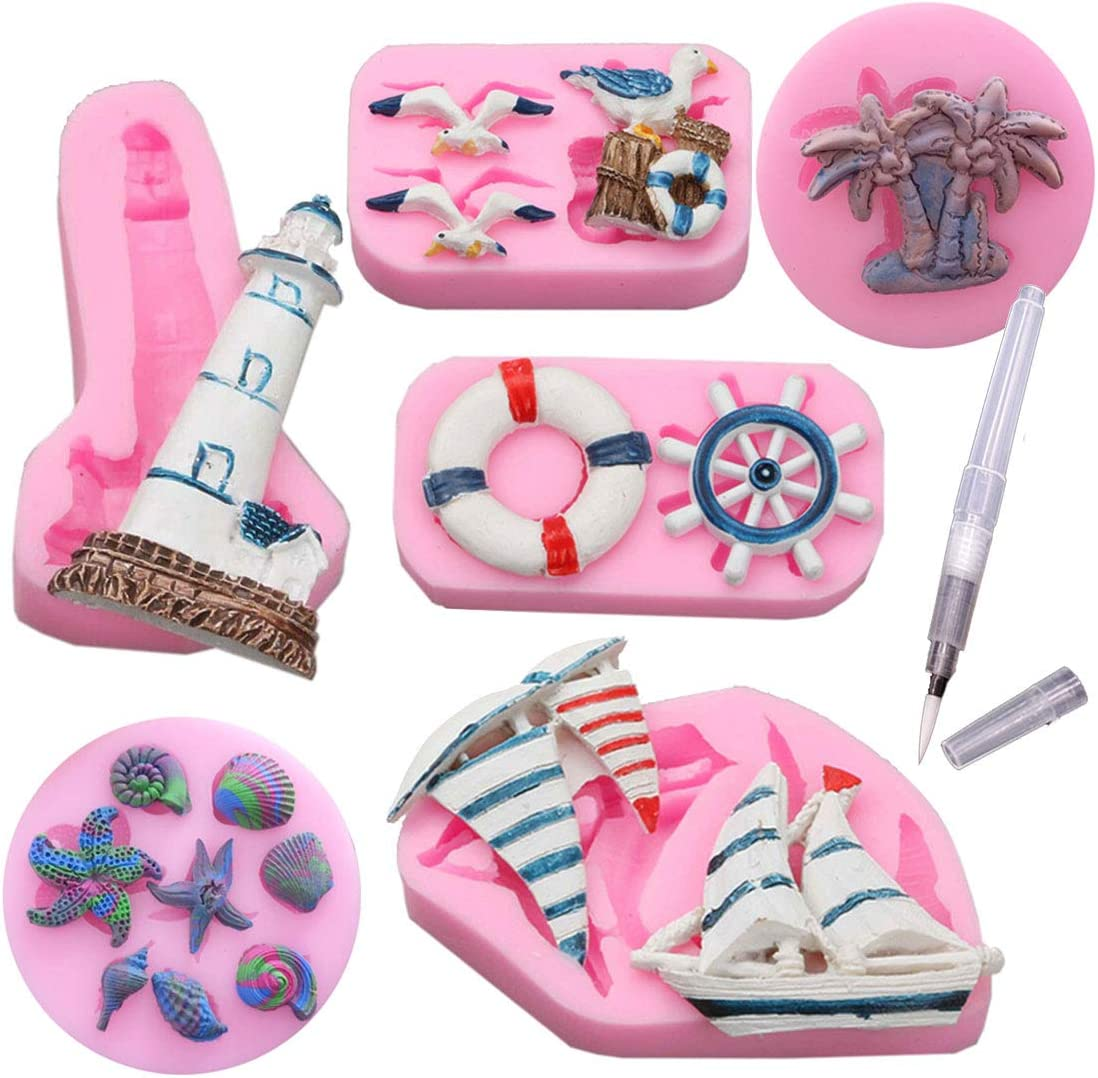 Set of 6 Sea Ocean 3D Pink Silicone Fondant Baking Mold Cake Molds Sea Shell Decorating Supplies Kit with Food Pen (Ocean theme 1)