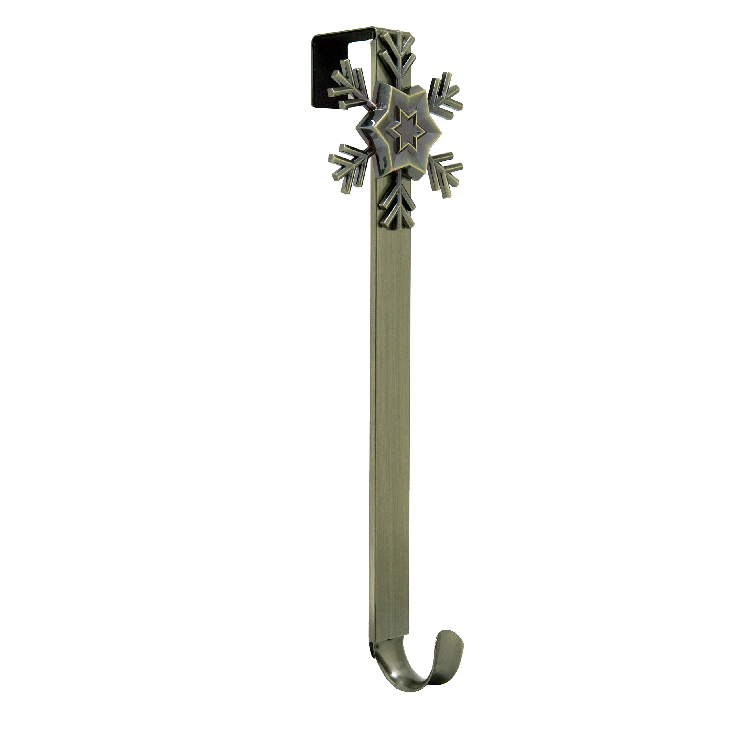 Adjustable Length Wreath Hanger with Removable Icon (Antique Brass - Snowflake) by Haute Decor