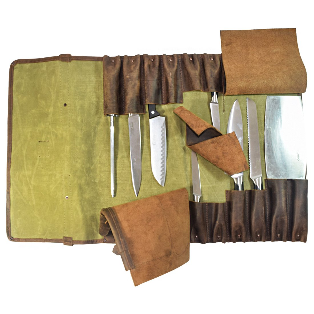 Waxed Canvas Professional Knife Roll (12 Pockets) Handmade by Hide and Drink