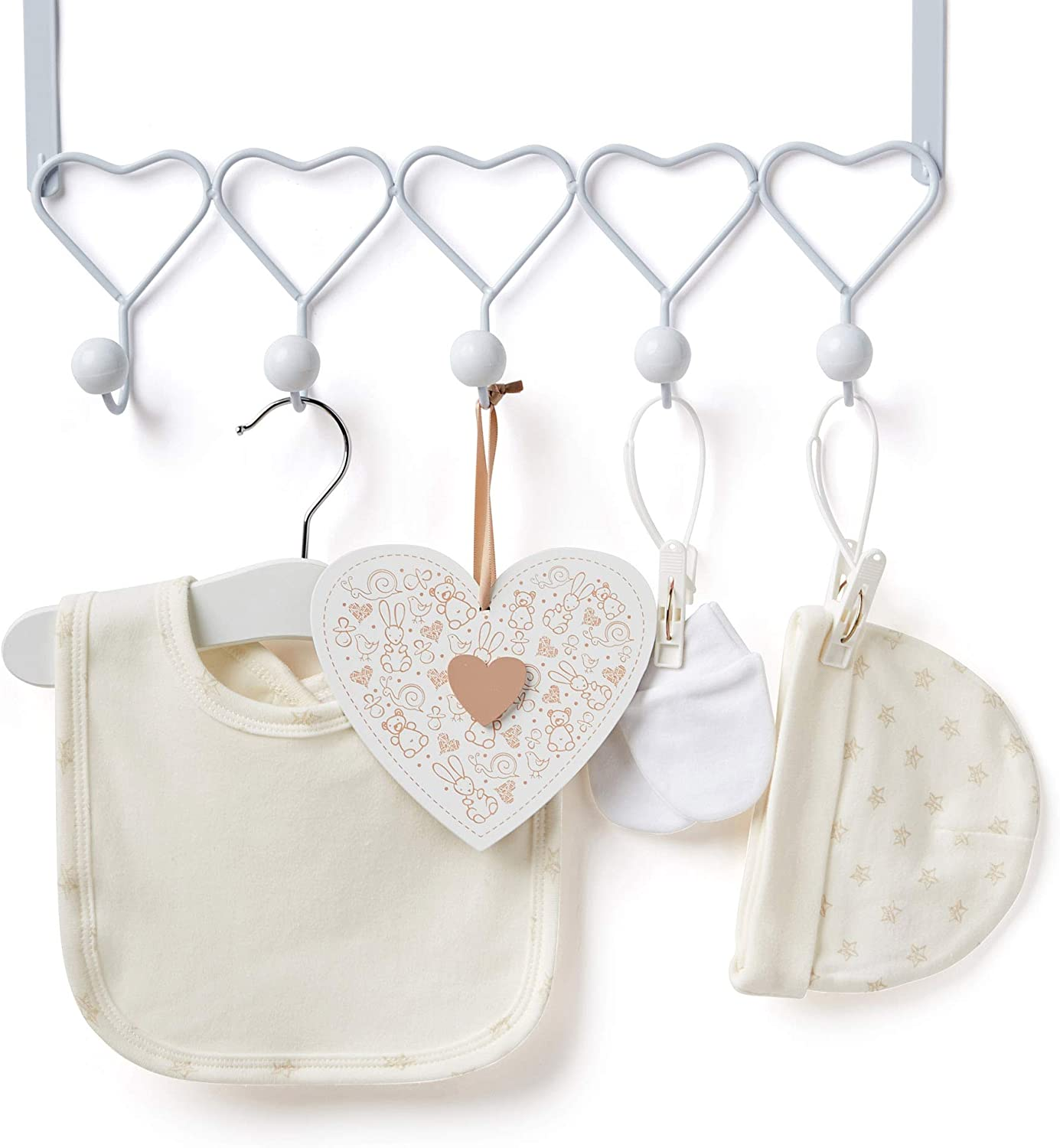 Baby Shower Hamper for Baby Girl with Baby Gifts Including a Rattle Bib Hanging Plaque Mitts and Hat Baby Box Shop Socks