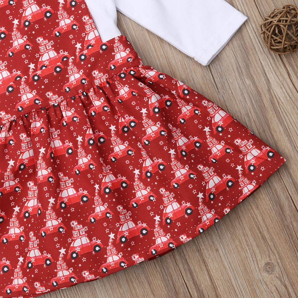 Christmas Toddler Baby Girls Overall Skirt Dress Set Long Sleeve Ruffle Romper Xmas Outfit Kids Clothes