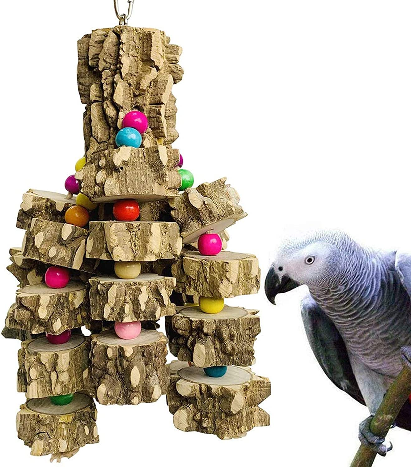Vaorwne 8 Pcs Set Bird Parrot Swing Chewing Toys-Natural Wood Bird Climbing Hanging Cage Toys Suitable for Small Parakeets Cockatiels Conures
