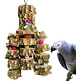 PINVNBY Large Parrot Toys Natural Wood Bird Chewing Toys Parakeet cage Hammock Hanging Toy for African Grey Macaws…