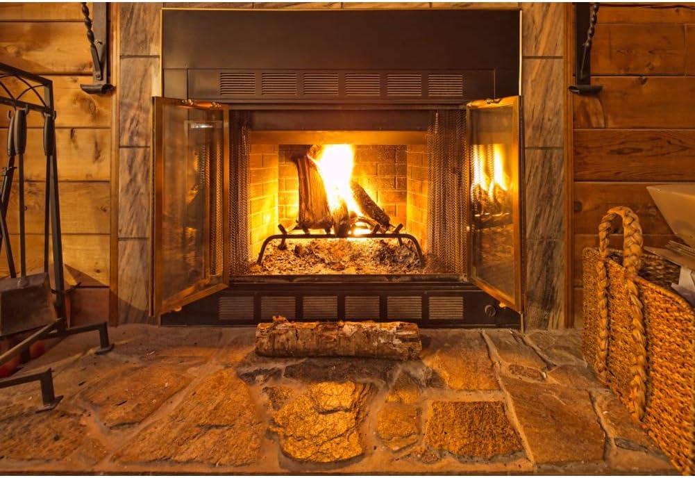 Amazon Com Leowefowa Warm Fireplace Backdrop 5x3ft Vinyl