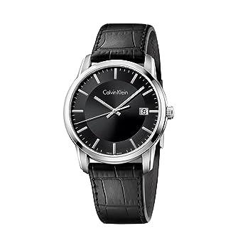 5d4c649176 Amazon.com: Calvin Klein Infinite Silver / Black Leather Analog ...