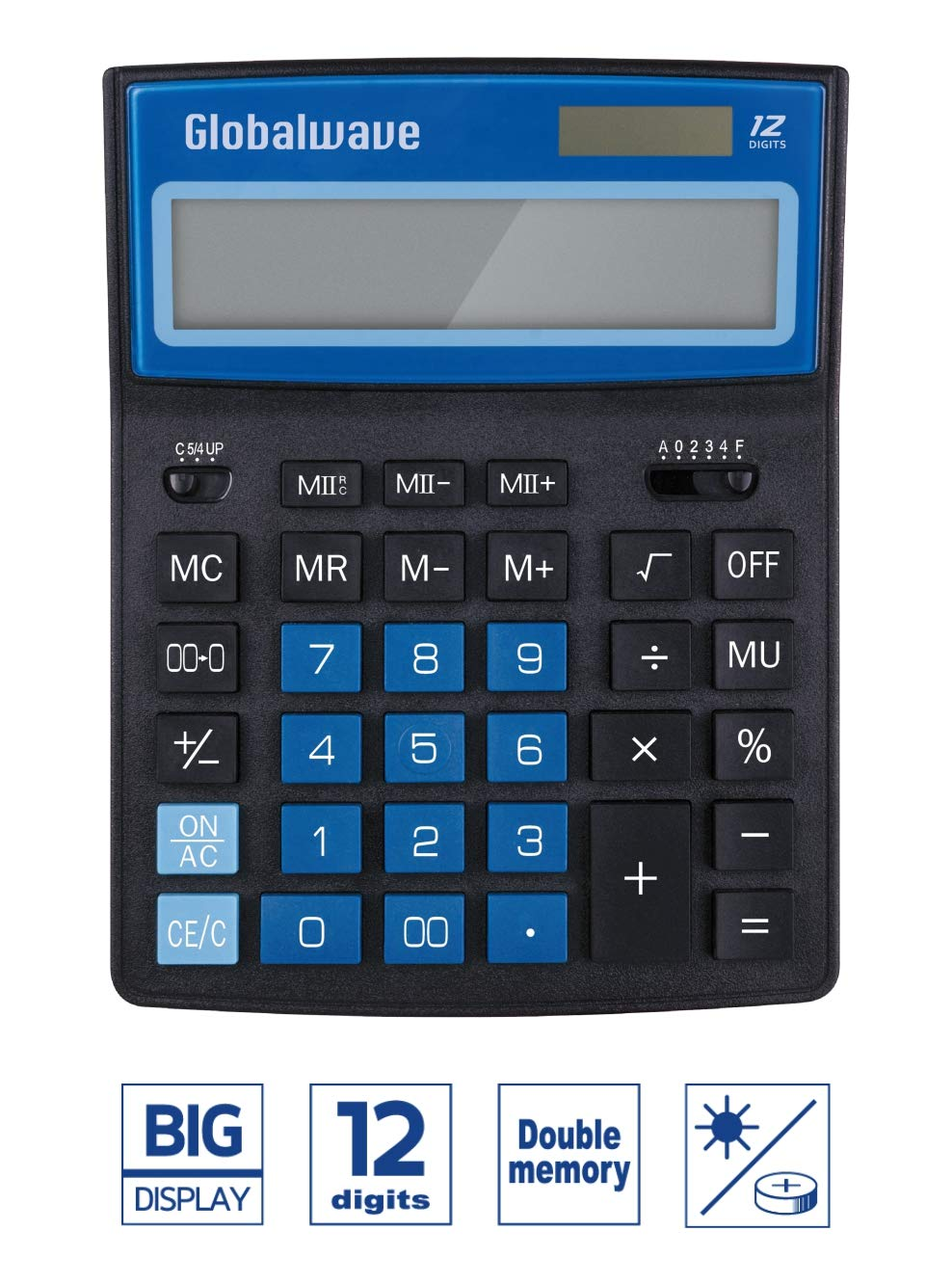 Calculator, Standard Function 8 inch Length Desktop Calculators, Solar and Battery Dual Power, Big Button 12 Digit Large LCD Display Globalwave