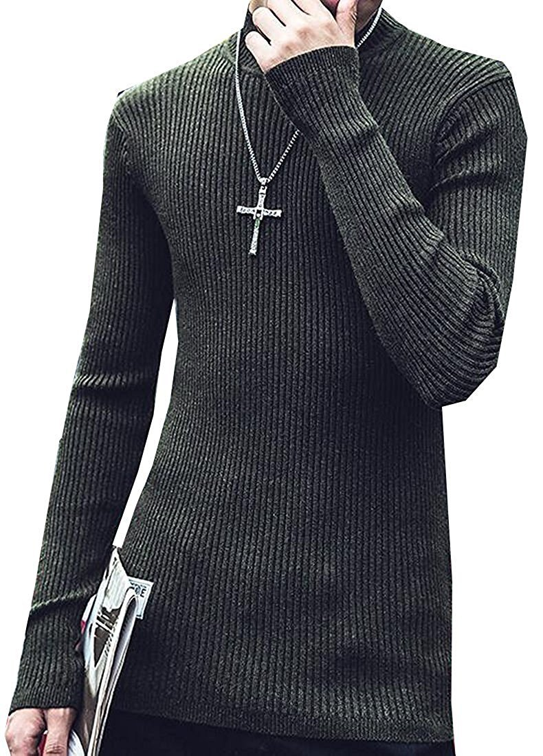 Shining4U Fashion Mens Basic Long Sleeve Turtleneck Knit Pullover Sweater 2US X-Small