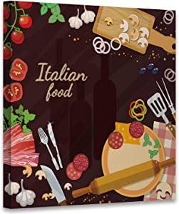 Hitecera Pizza Ingredients on The Kitchen Table Italian Food Food,Abstract Wall Art Pepperoni Pizza Wall Art for Living Room 8x8