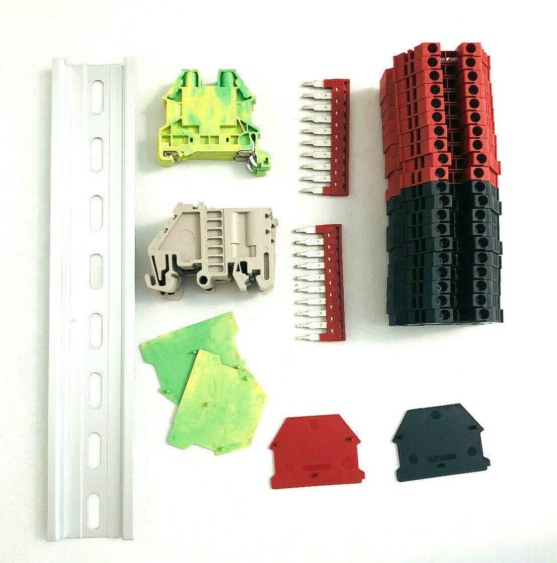 Dinkle UL Listed DIN Rail Terminal Block Kit #1 Red/Black Dinkle 20 DK2.5N 12 AWG Gauge 20A 600V Ground DK4N-PE Jumper DSS2.5N-10P End Covers End Brackets